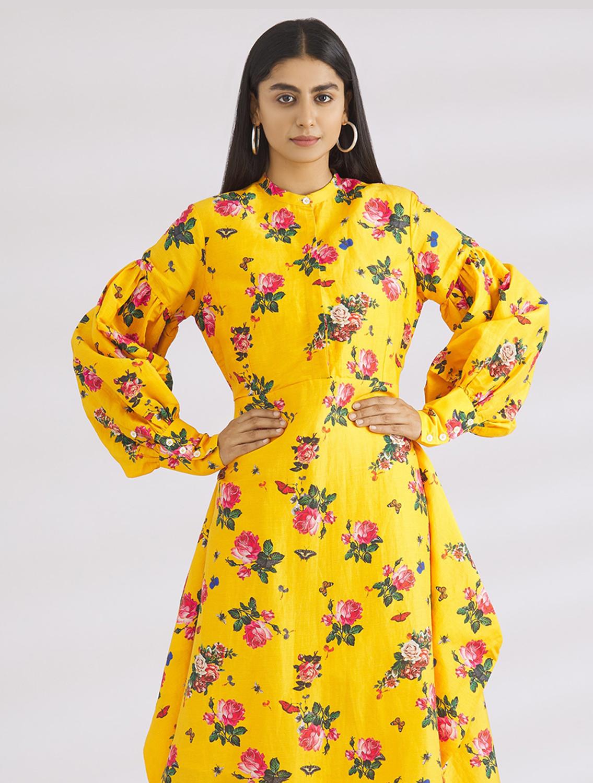 Seyo Yellow Floral Printed Dress