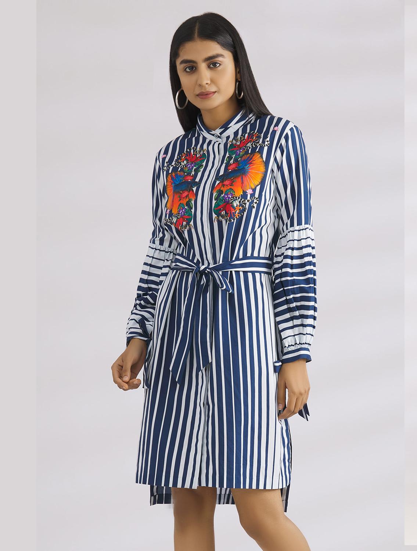 Nitara Blue Striped Shirtdress