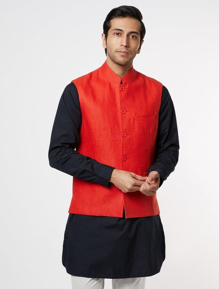 Red Linen Waistcoat