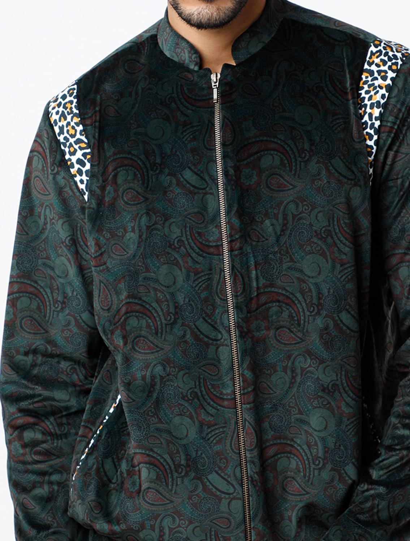 Paisley Green Velvet Bomber Jacket