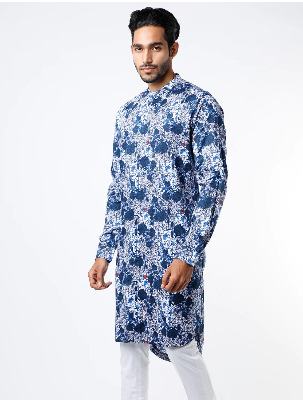 Prem Blue Cotton Kurta Pant Set