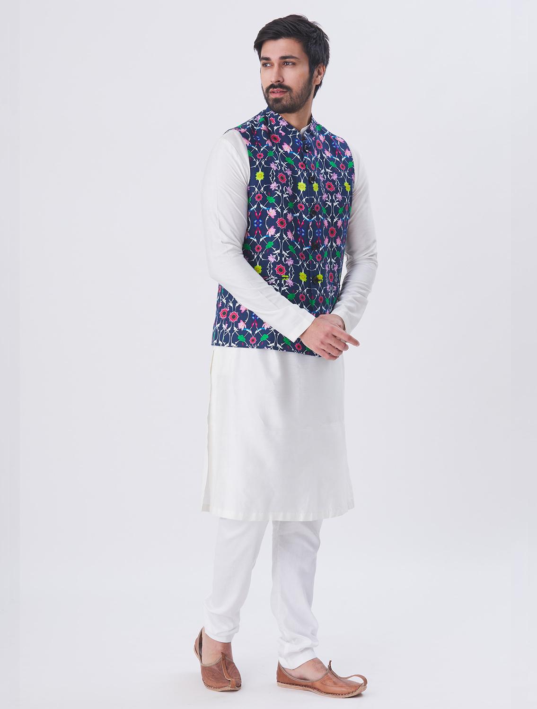Blue Komol Linen Waistcoat