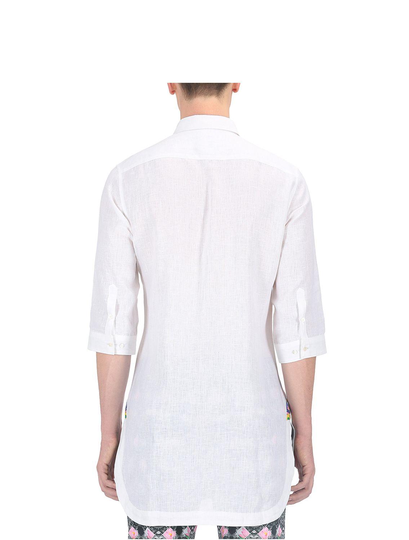 White Jalaj Applique Linen Shirt