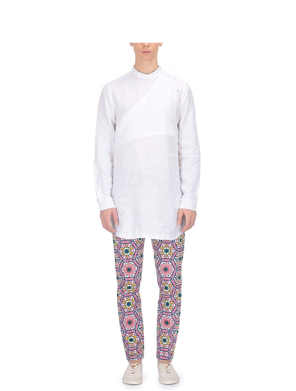 White Linen Angharkha and Kanwal Kamal Pants