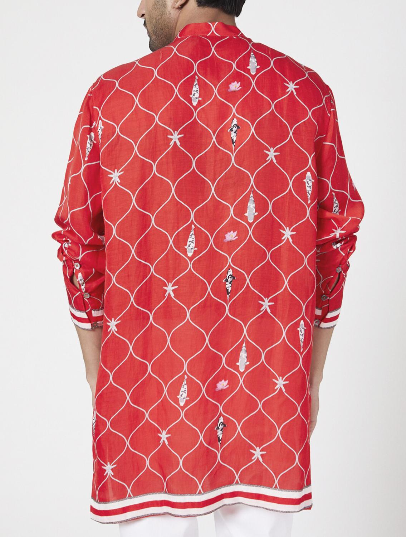 Ferdinand Red Silk Kurta