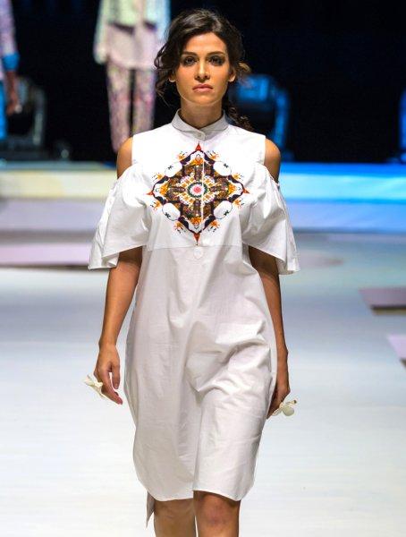Nyonika White Cold Shoulder ShirtDress