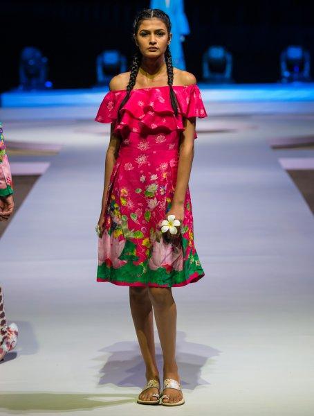 Gulabi Komol Off Shoulder Ruffle Dress
