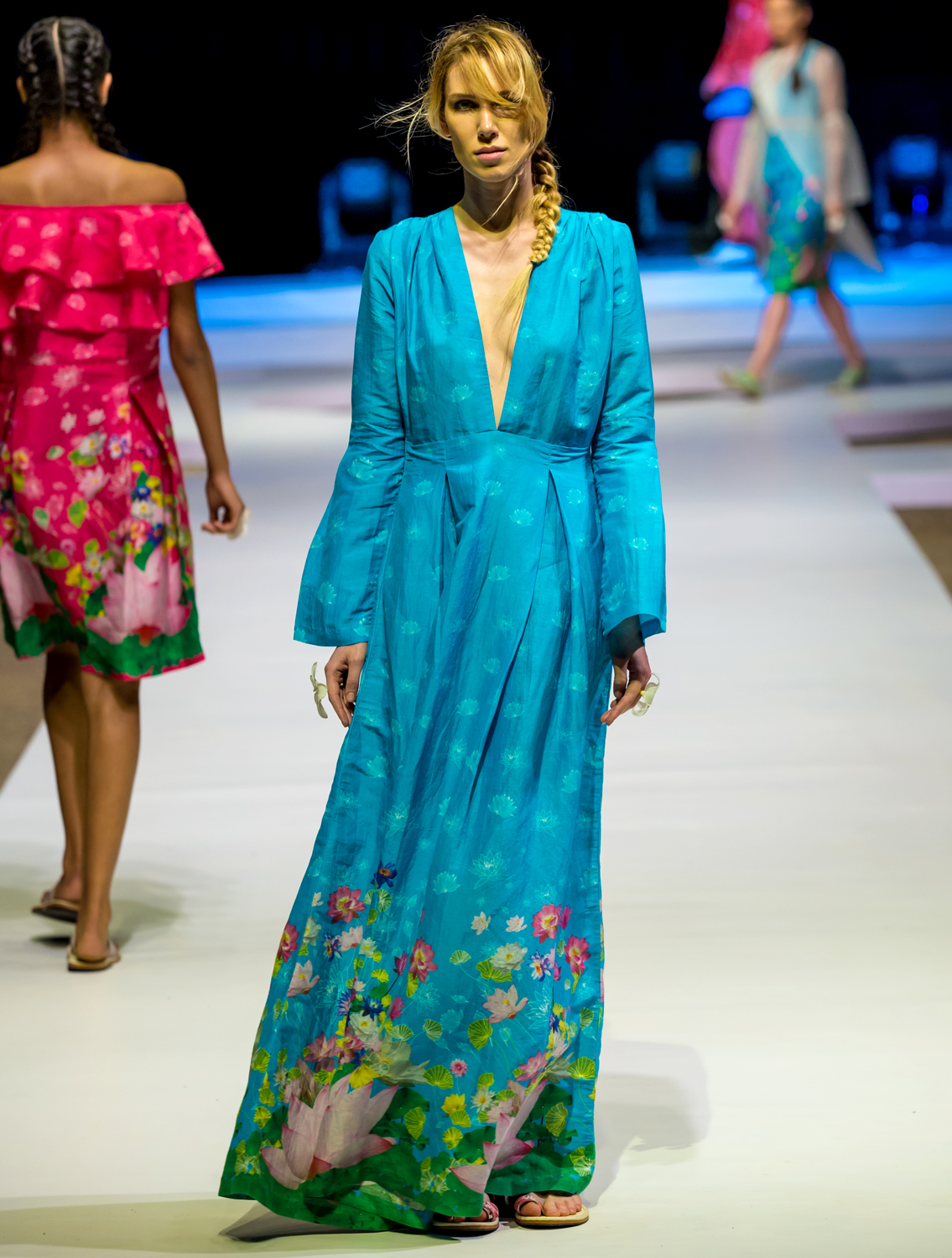 Pazoh Long Dress with Bell Sleeves