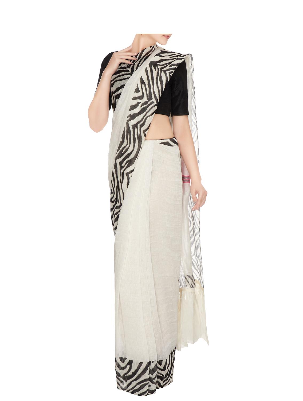 Hiver Striped Border Silk Linen Saree