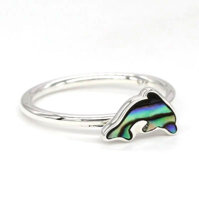 Sterling Silver Abalone Dolphin Stackable Rings (Pack of 12)