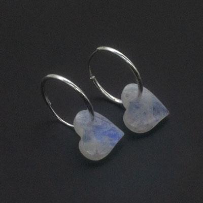 Sterling Silver Rainbow Moonstone Spade Shape Hoop Earrings [Pack of 4]
