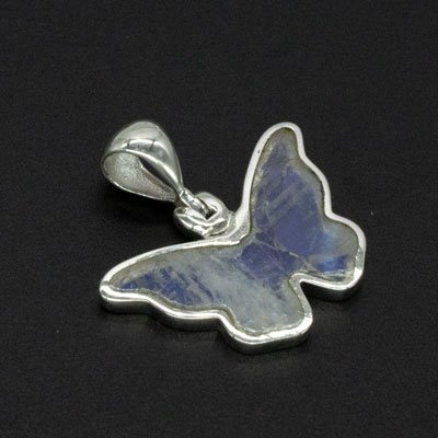 Sterling Silver Rainbow Moonstone Butterfly Pendant