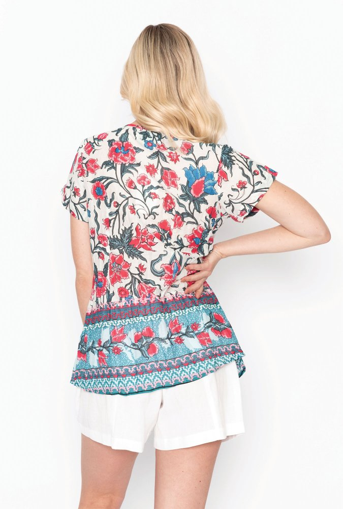Maggie top in Red and White Floral