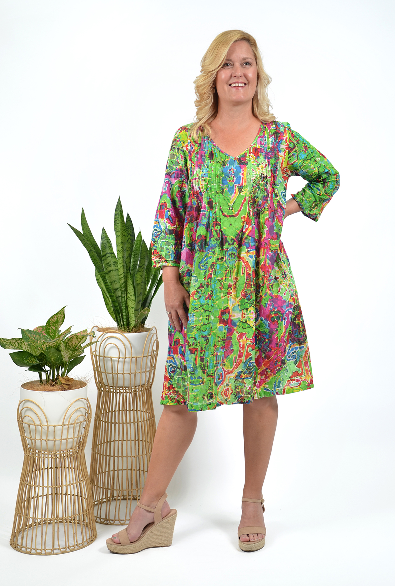 Carmen Dress in Green and Pink