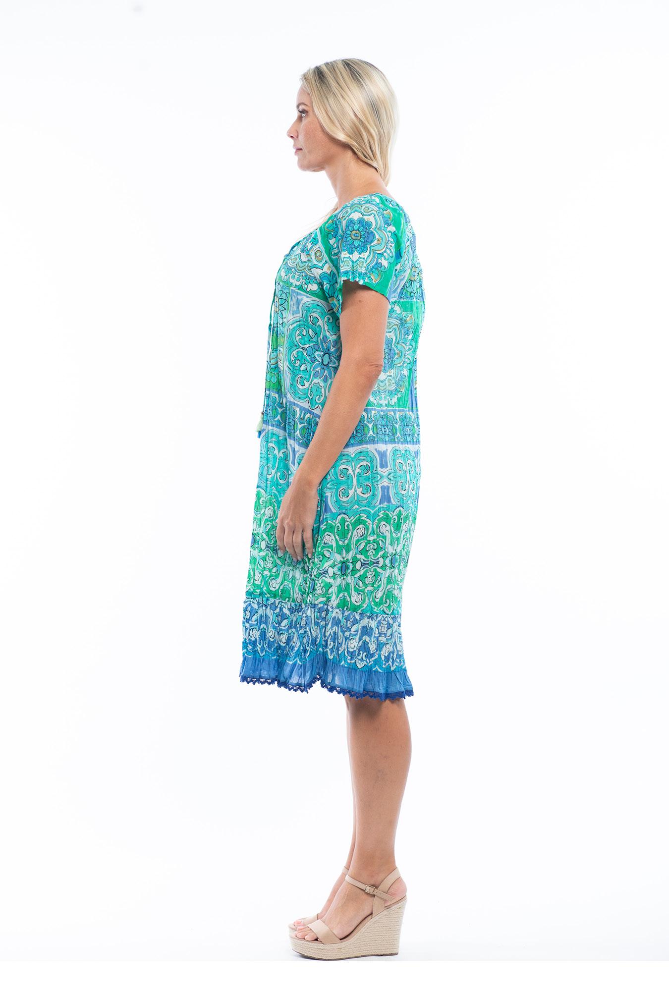 Monica Dress in Mauresque Green