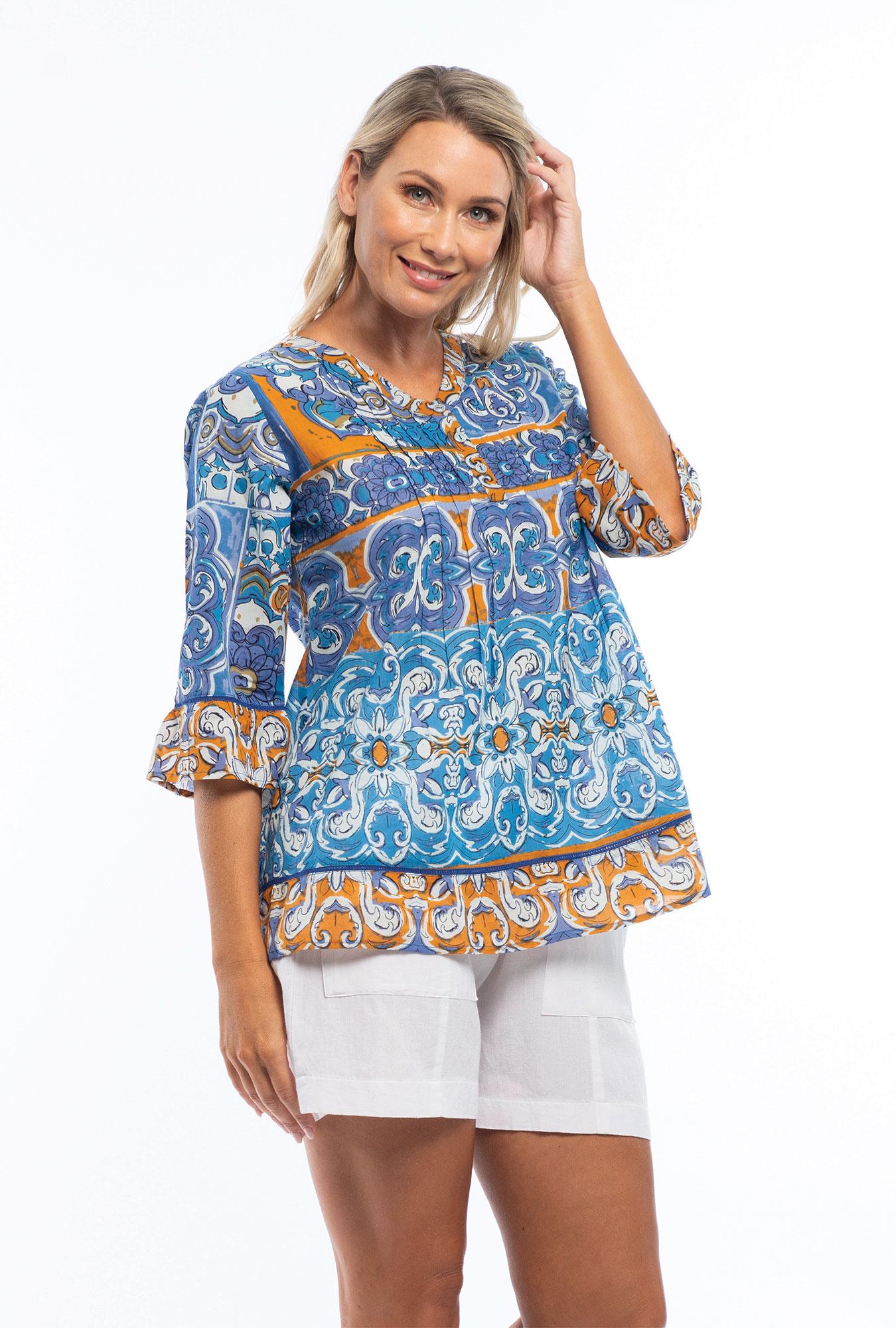 Amelia top in Mauresque Blue