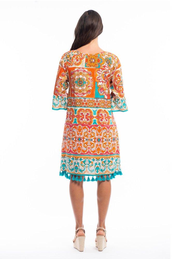 Marie Dress in Orange Mauresque