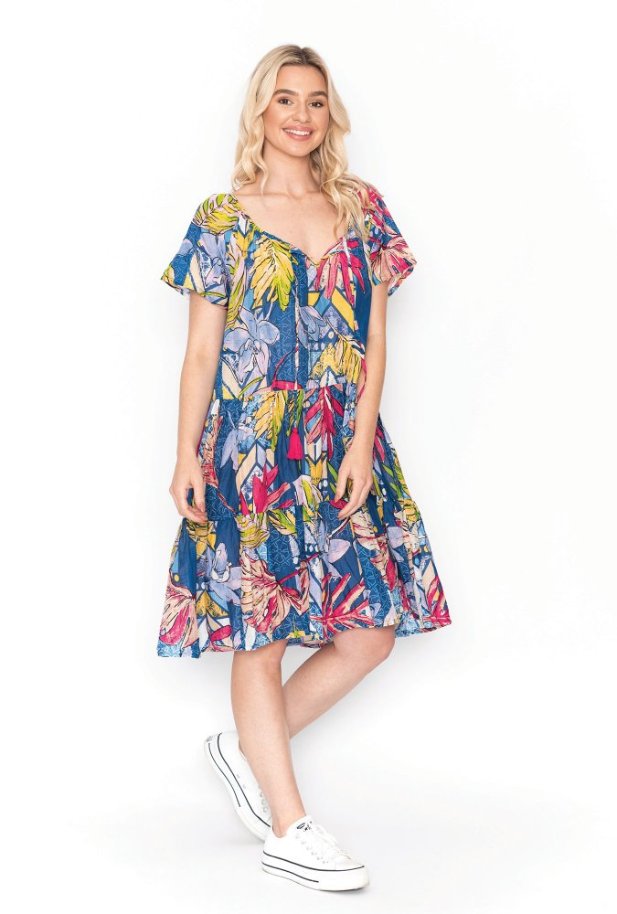 Nora Dress in Graphic Floral Blue
