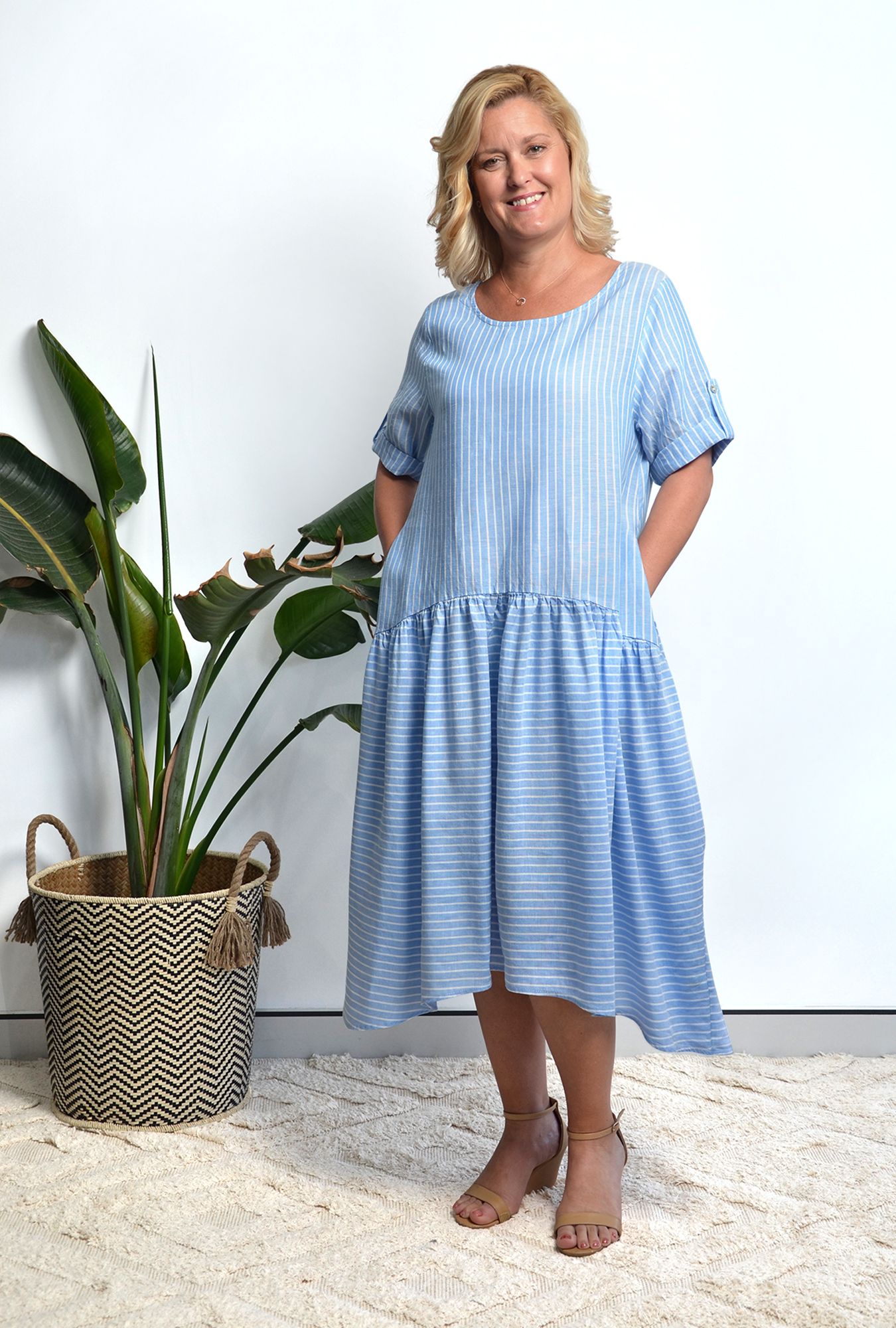 Morgan Dress in Pinstripe