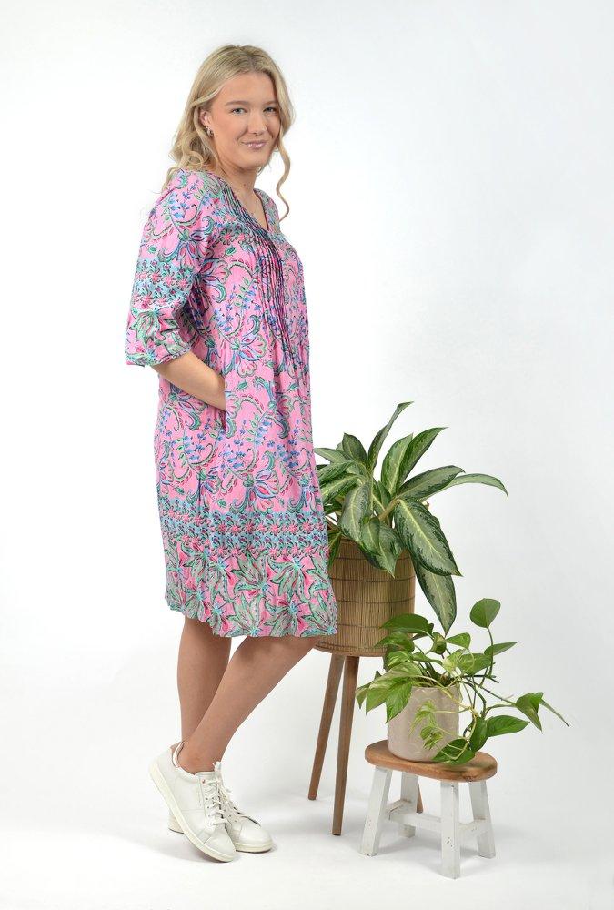 Carmen Dress in Floral Pink