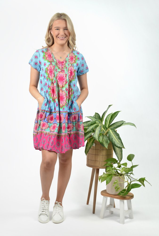 Marla Dress in China Blue and Pink Paisley