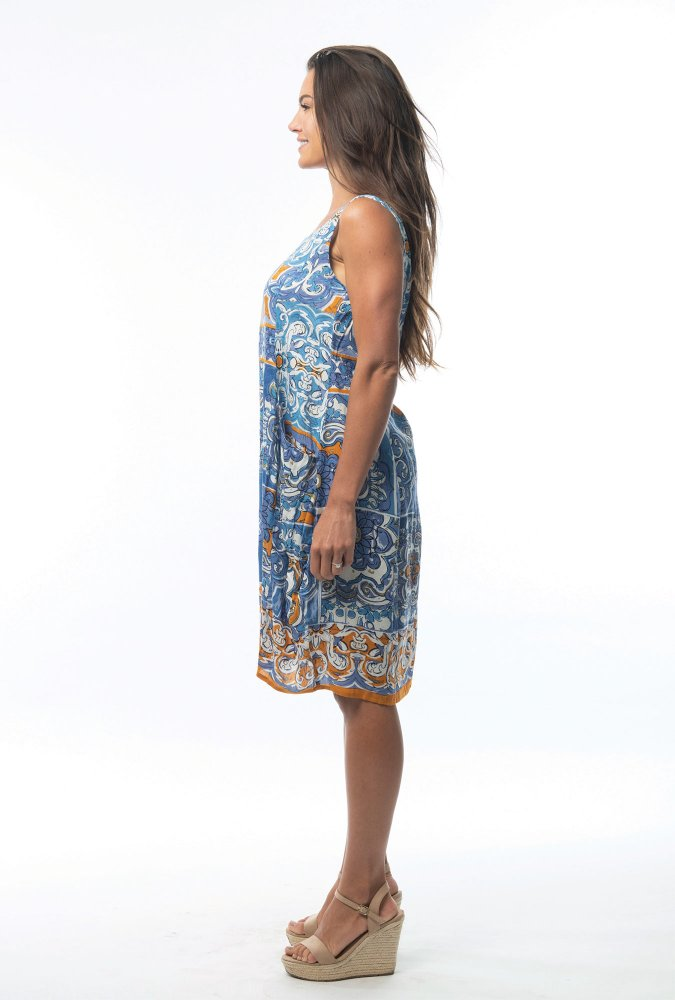 Orla Bubble Dress in Mauresque Blue