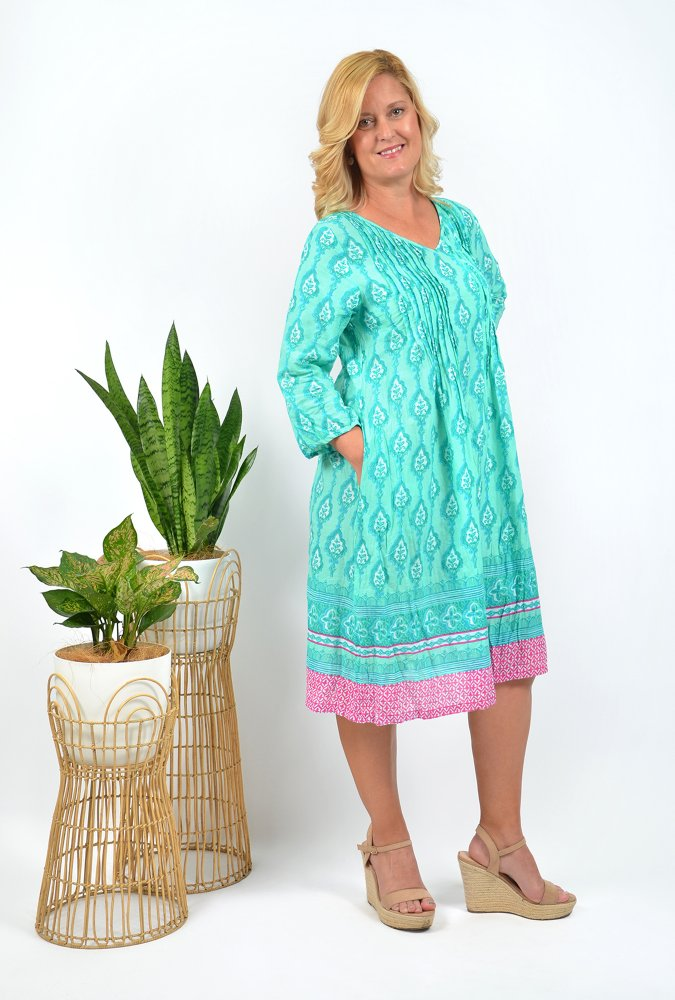 Carmen Dress in Turquoise