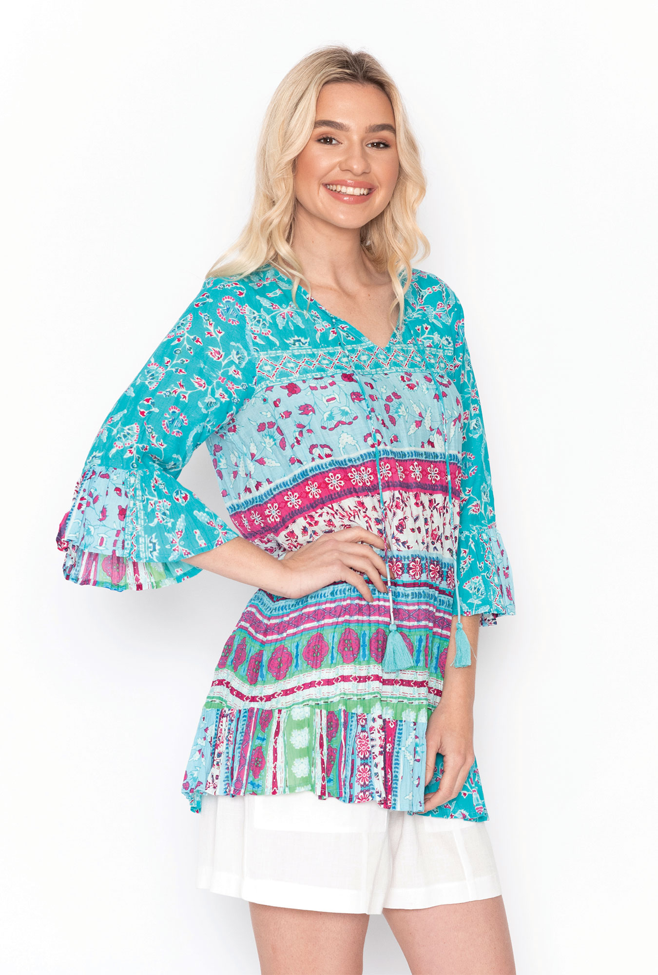 Solah Tunic in Aquamarine and Pink