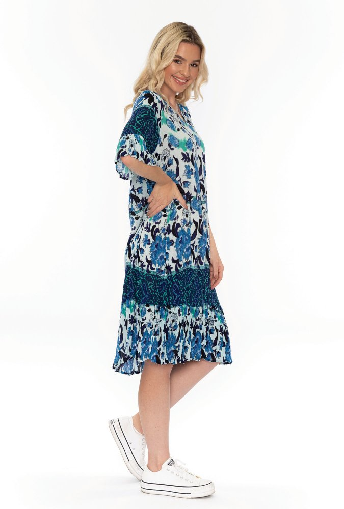 Stephy Dress in Teal Floral