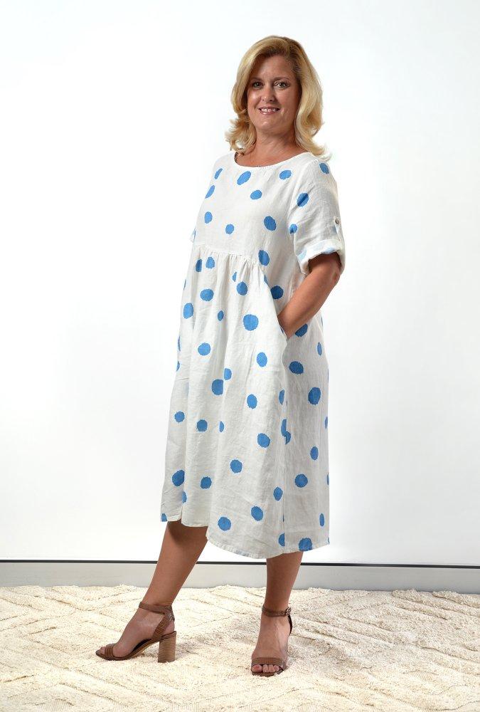 Kimmy Dress in Blue Spot