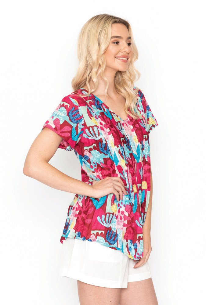 Maggie Top in Bold Pink