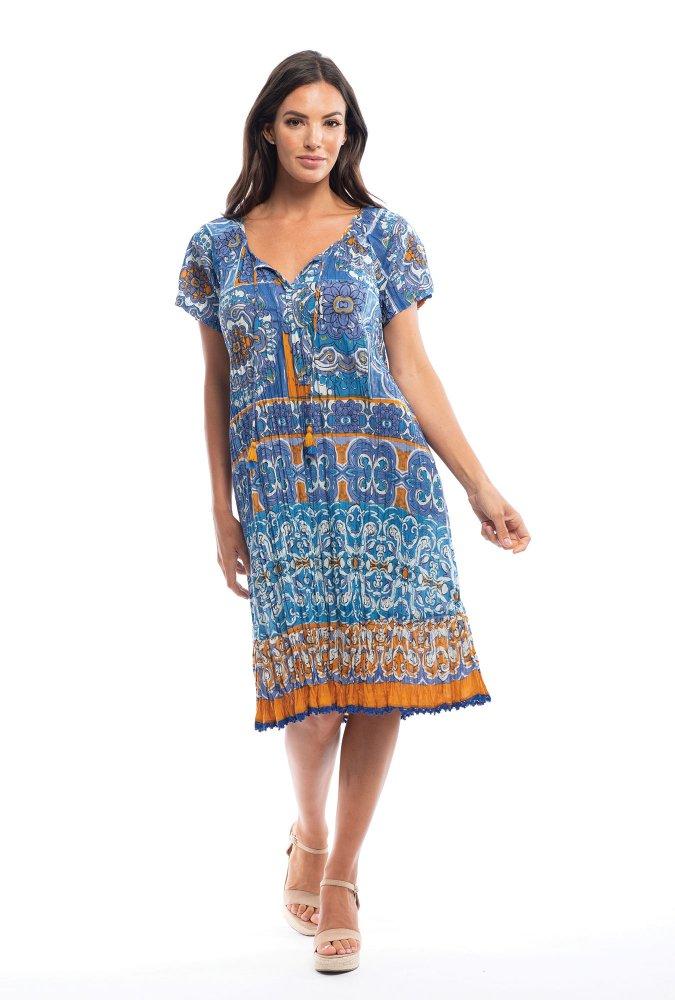 Monica Dress in Mauresque Blue