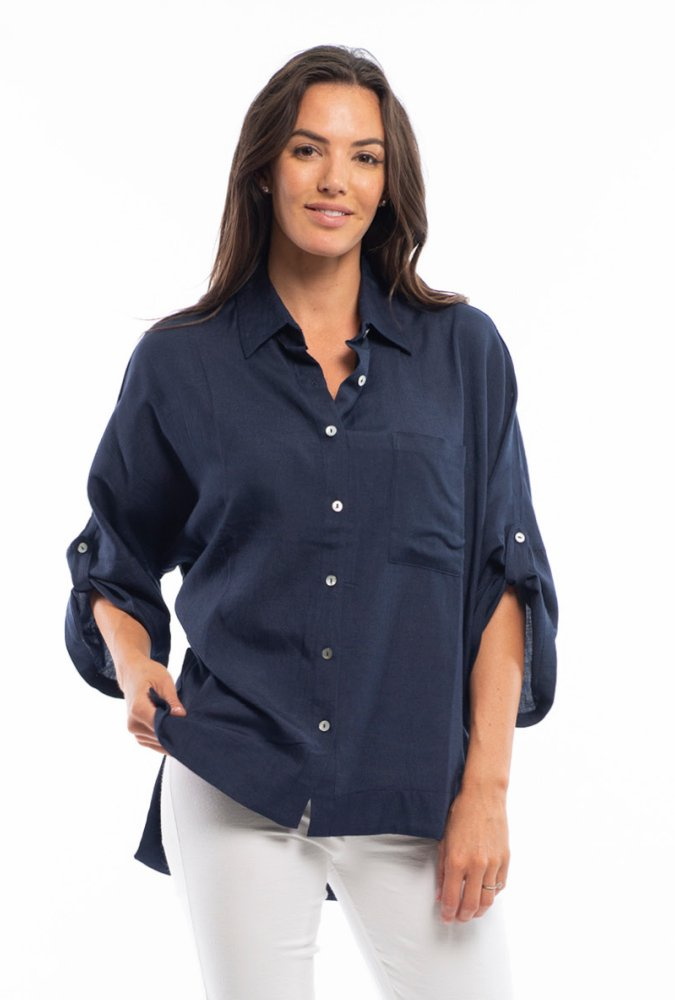 Cleo Button Down Top in Navy