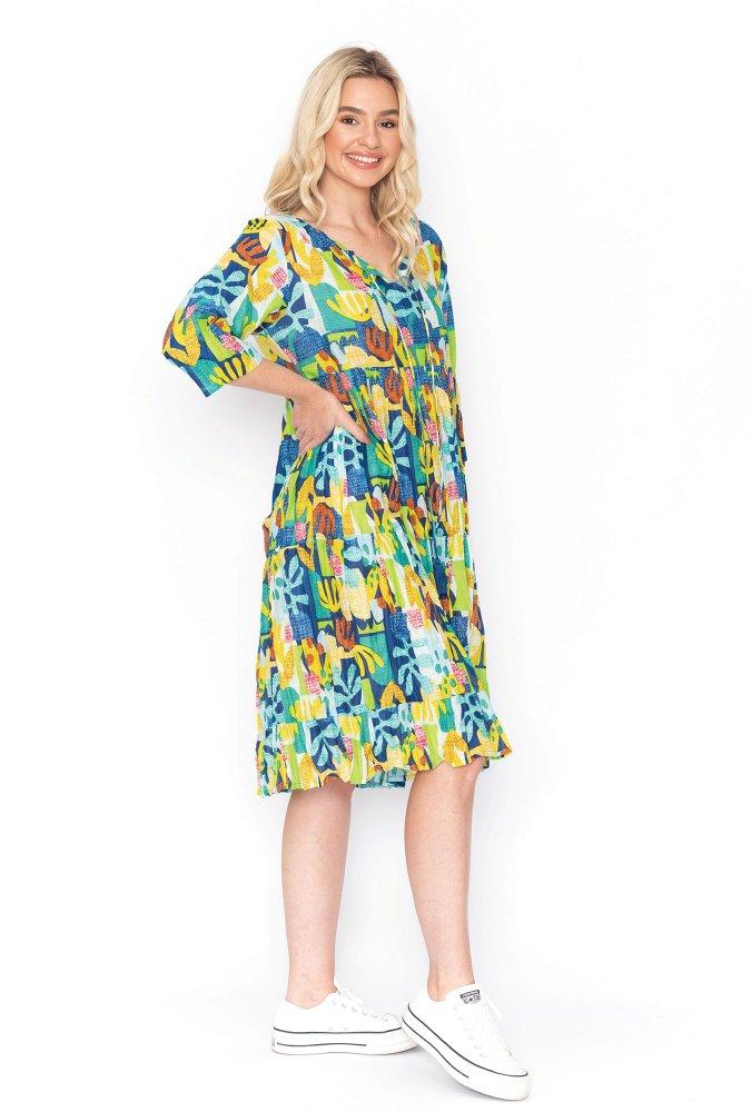 Poppy Dress in Graphic Flora Yellow