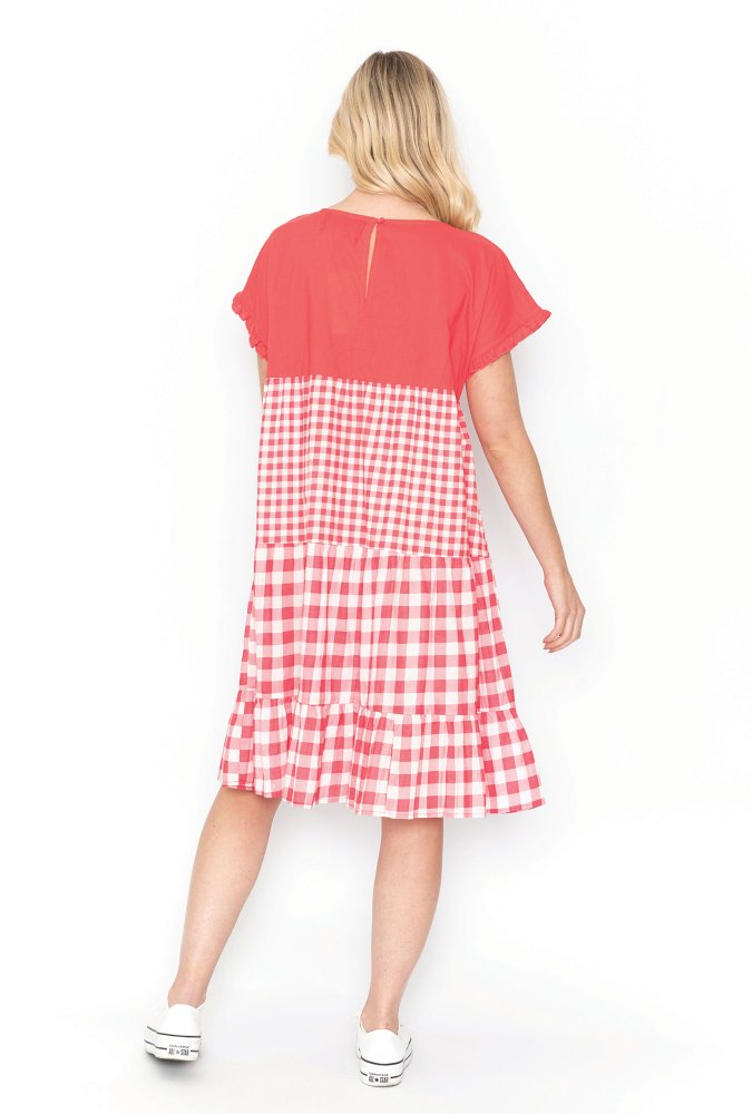 Lottie Dress in Coral Gingham