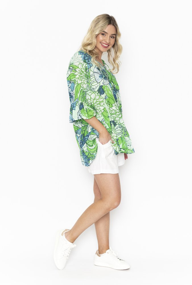 Solah Tunic in Green floral