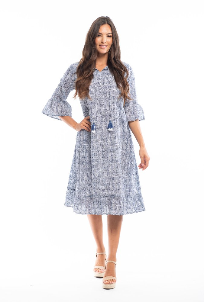 Sasha Dress in Mono Navy