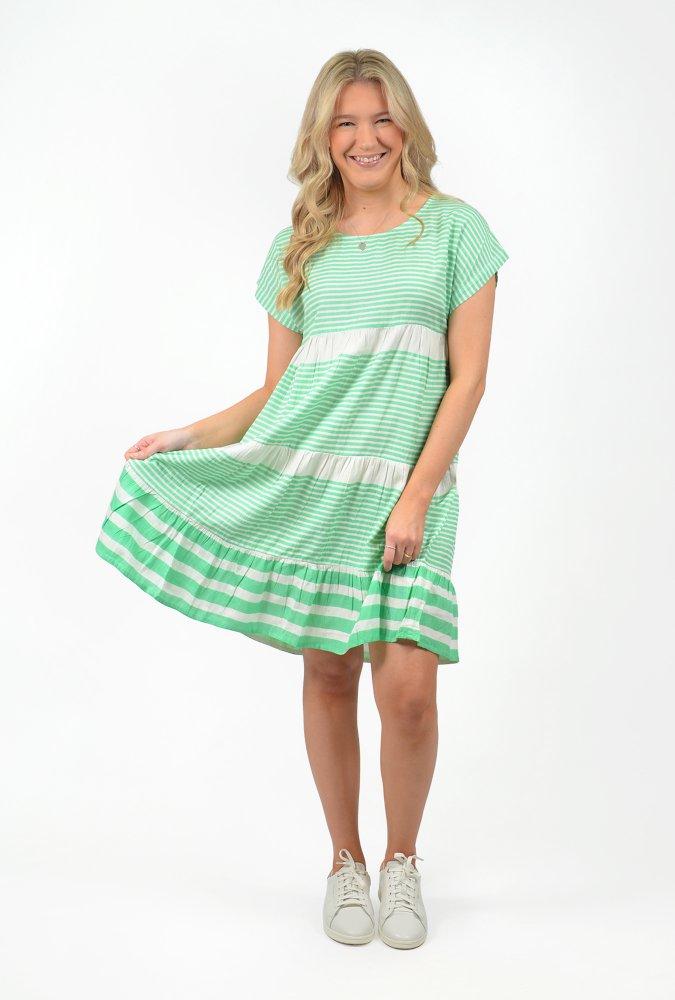 Rachel Dress in Mint Stripes