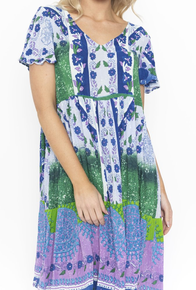 Chloe Dress in Purple and Green Patch