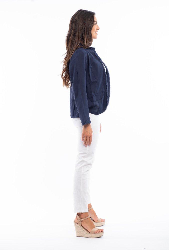 Linda Linen Jacket in Navy