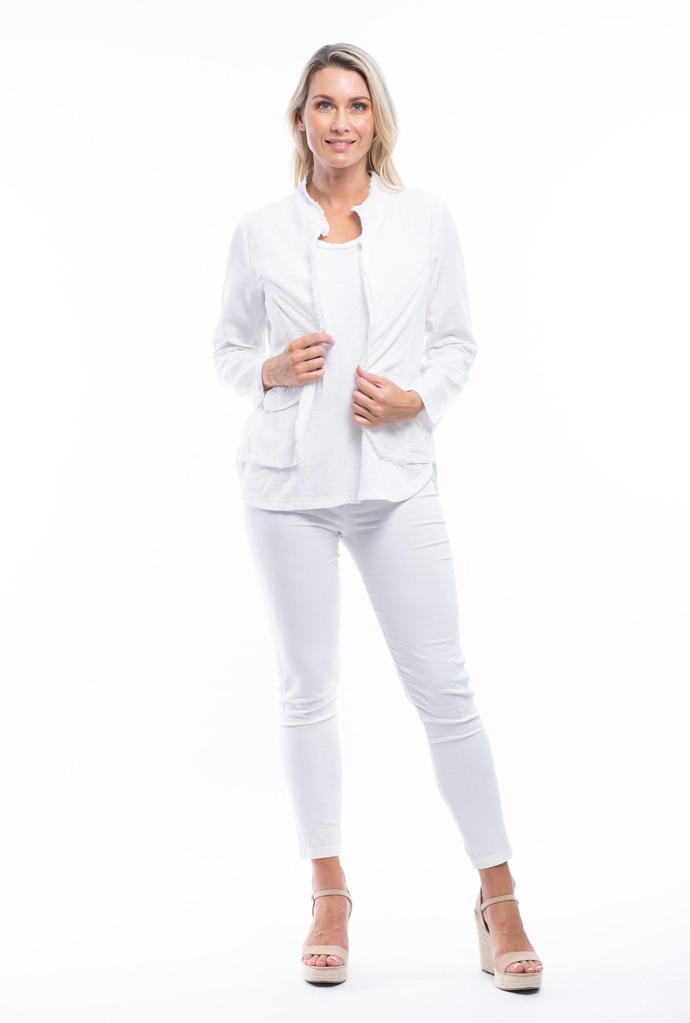 Linda Linen Jacket in White