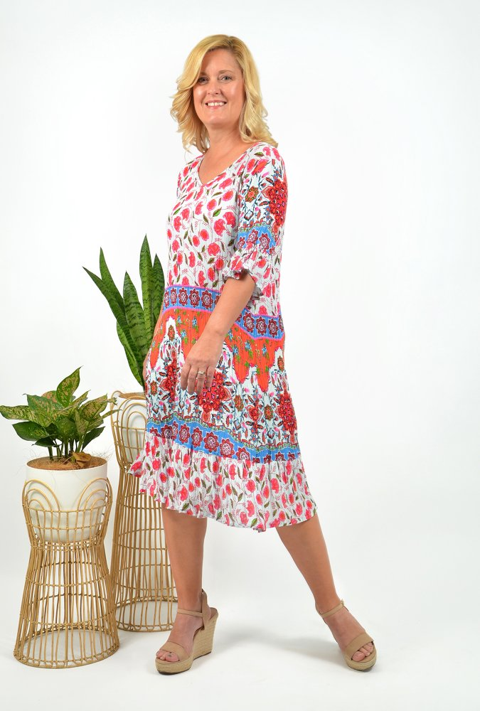 Stephy Dress in Red Paisley