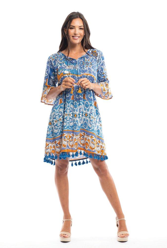 Marie Dress in Blue Mauresque