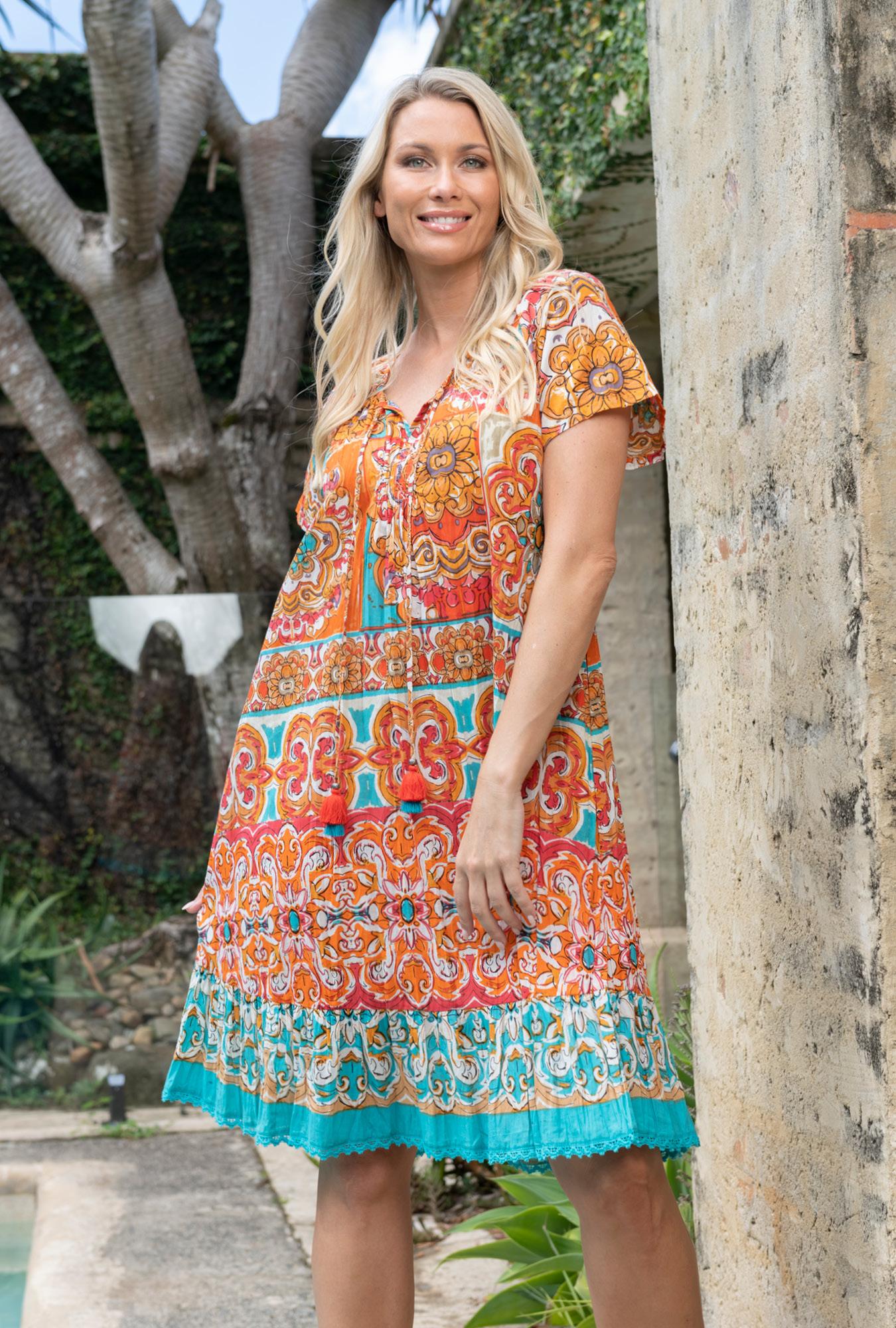 Monica Dress in Mauresque Orange