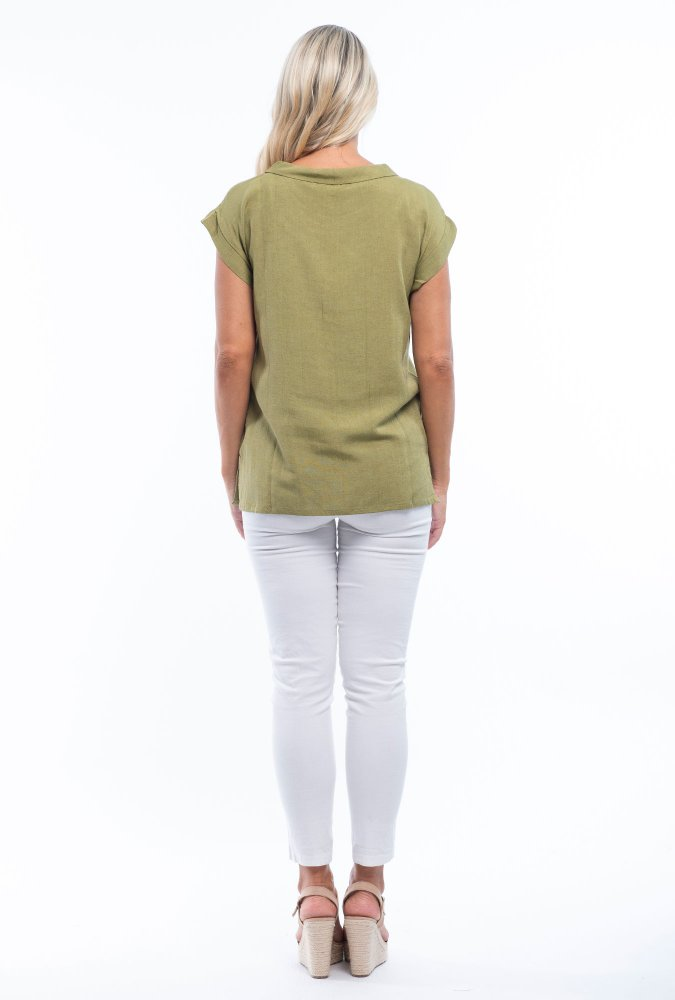 Charlotte Linen Tee in Olive