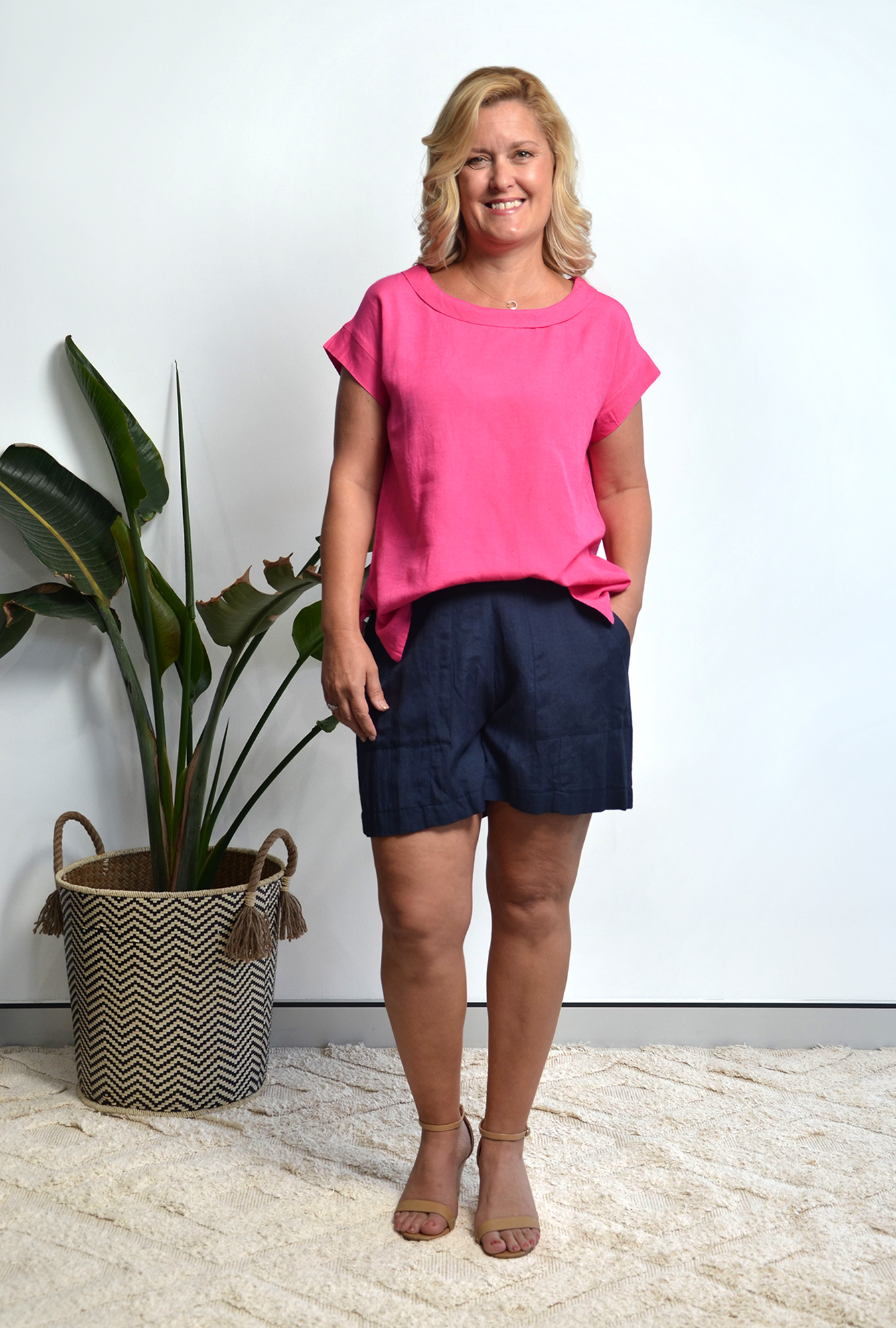 Charlotte Linen Top in Pink Orchard