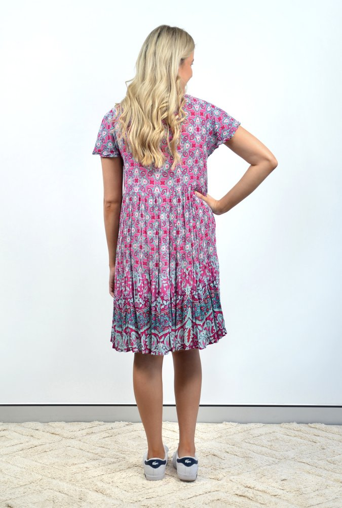 Chloe Dress In Pink and Teal Paisley