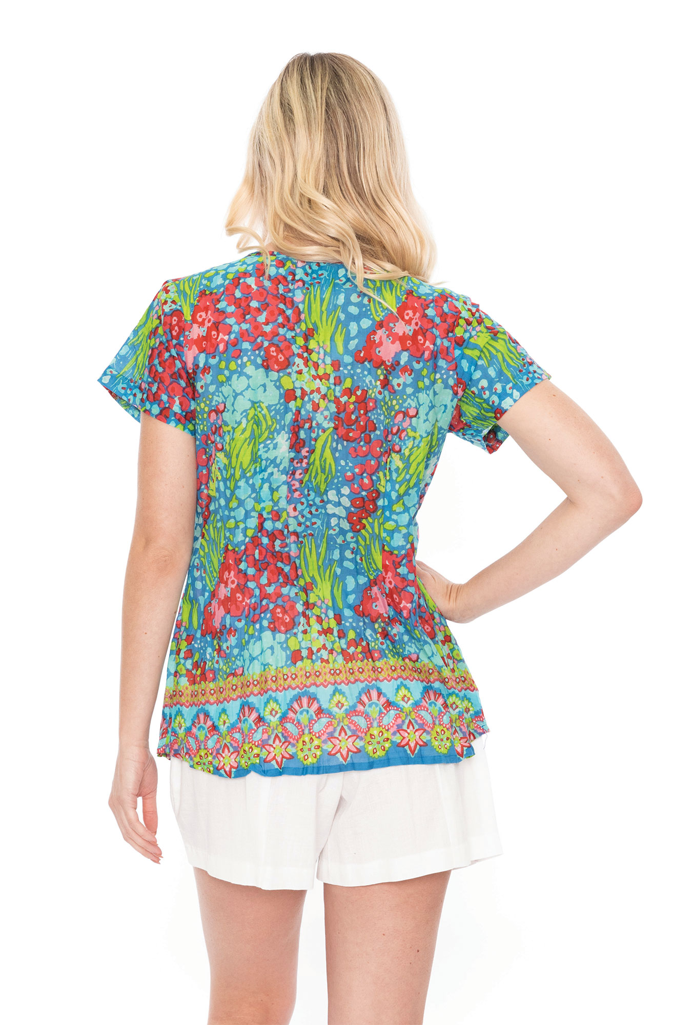 Maggie Top in Blue and Pink Floral