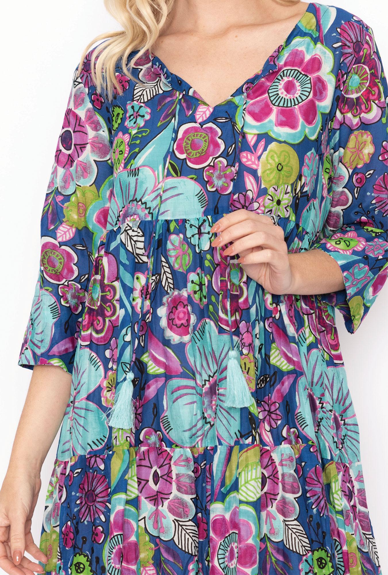 Poppy Dress in Blue Graphic Flowers