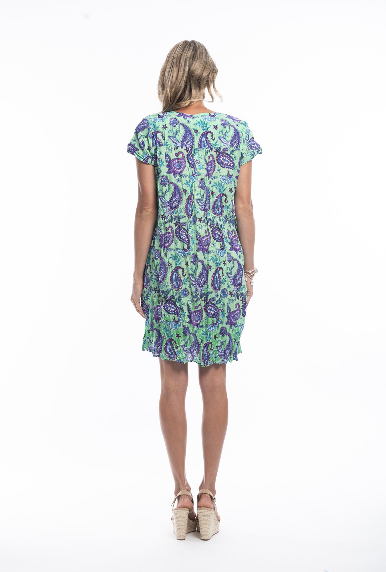 Marla Dress in Green Paisley